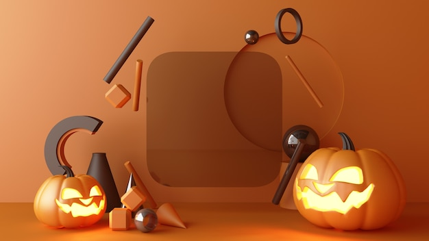 Ottobre halloween pumpkins testa che cresce con forma geometrica con stand prodotto mock up per presente su sfondo di colore arancione rendering 3d