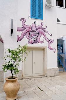 Graffiti di polpo sopra l'ingresso della casa