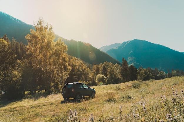 Roadtrip fuoristrada viaggio in auto su strada di montagna contro rocce e ghiacciai in altay, russia. bellissime luci e colori.
