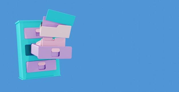 Illustrazione di file di gabinetto di documenti per ufficio con sfondo blu