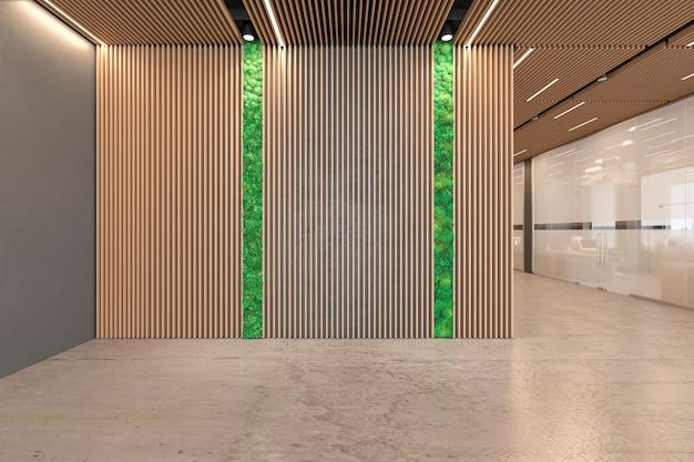 Interno ecologico della hall dell'ufficio open space con pavimento in cemento, soffitto in legno, reception, ascensore. 3d render illustrazione mock up.