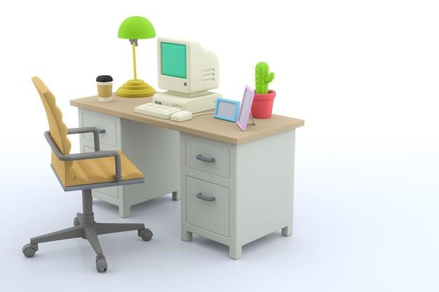 Stanza ufficio con scrivania, computer e sedia in sfondo bianco, rendering 3d