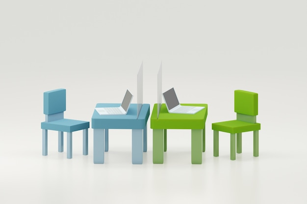 Tavolo da lavoro in ufficio con laptop e schermo divisorio per l'illustrazione 3d di allontanamento sociale