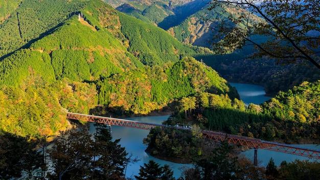 Oigawa railway ikawa line stazione okuoikojo e rainbow bridge scenario della prefettura di shizuoka in giappone vista del paesaggio nella stagione delle foglie d'autunno