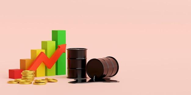 Barile di petrolio e moneta da un dollaro con crescita del grafico in alto, illustrazione 3d