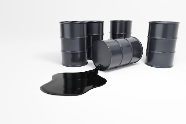 Barili di petrolio su un bianco