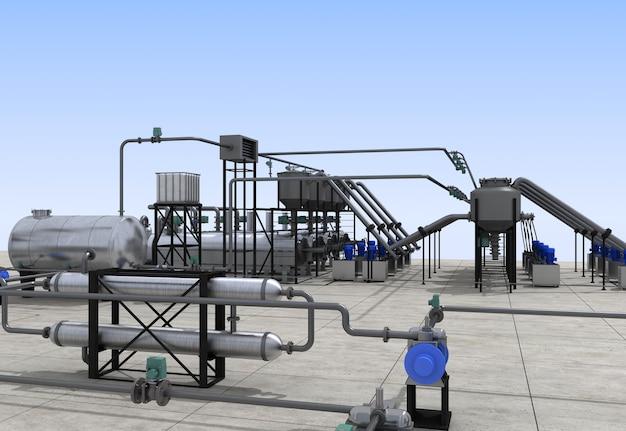 Raffineria di petrolio, produzione chimica, impianto di trattamento dei rifiuti, visualizzazione esterna, illustrazione 3d