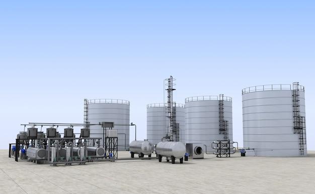 Raffineria di petrolio, fabbrica di vetro, visualizzazione esterna, illustrazione 3d