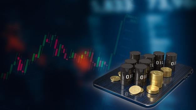 Il serbatoio dell'olio su tablet per il rendering 3d del concetto di business energetico o petrolifero
