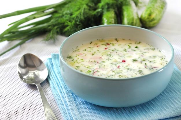 Okroshka - tradizionale minestra fredda russa con cetriolo fresco, uova sode e aneto