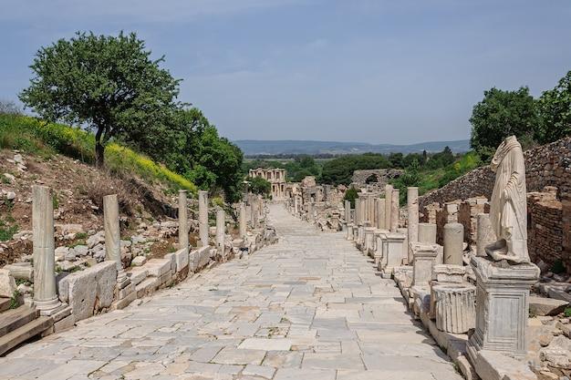 Un vecchio vicolo con colonne antiche che conduce alle rovine di una biblioteca nella città di efeso in turchia