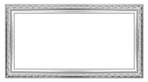 Vecchia cornice d'argento antico su sfondo bianco