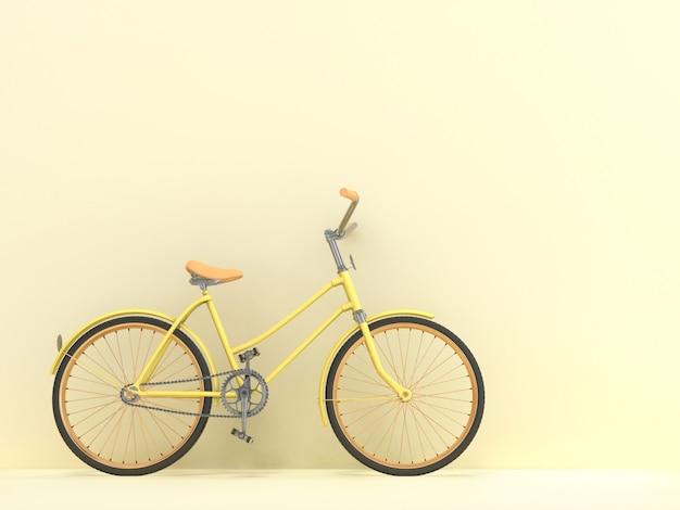 Vecchia bici contro il muro. rendering 3d.