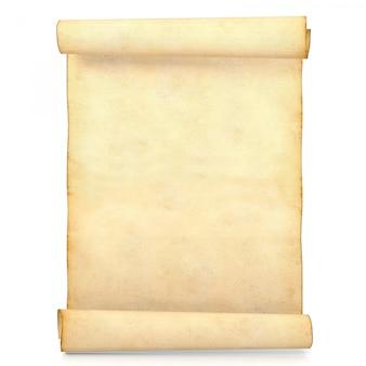 Vecchia carta antica in bianco del rotolo isolata su bianco, rappresentazione 3d