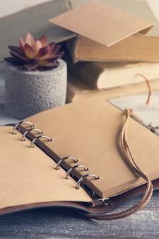 Vecchi libri, succulento e quaderno artigianale aperto