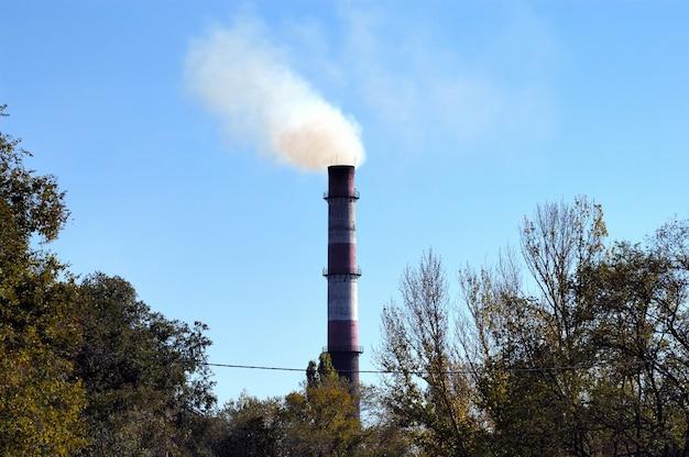 Vecchia fabbrica di mattoni fumando la pipa tra gli alberi