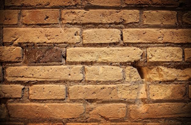 Un vecchio muro di mattoni che fa da sfondo