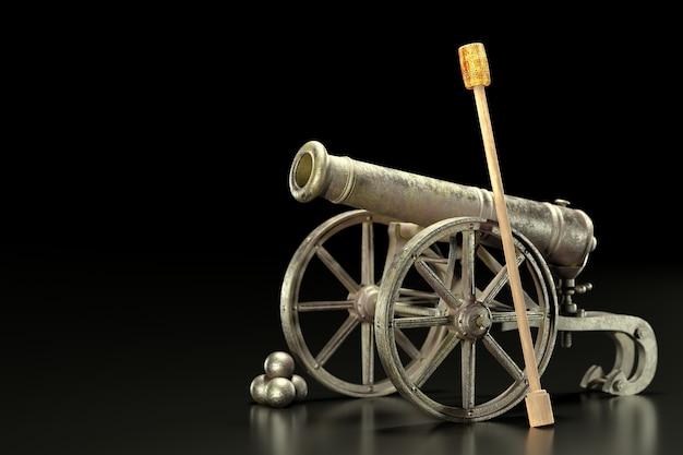 Un vecchio cannone ha ruggine sul carrello e palle di cannone accanto su uno sfondo nero e scuro. un'arma potente usata dai militari in passato per combattere i loro nemici. rendering dell'illustrazione 3d.