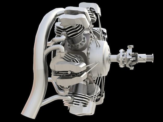 Vecchio motore a combustione interna di aeromobili circolari. rendering 3d.