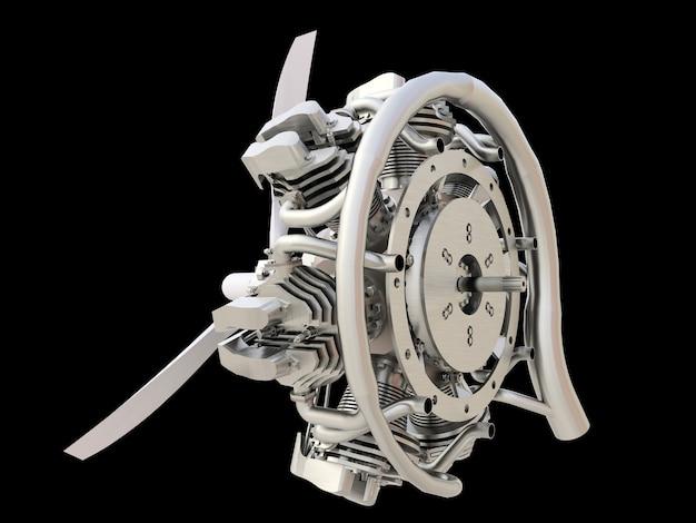 Vecchio motore a combustione interna di aeromobili circolari con elica e pale. rendering 3d.