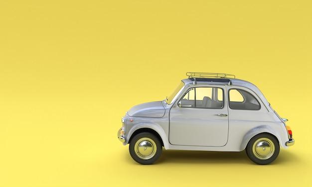 Vecchia automobile italiana classica 500 grigia su un giallo