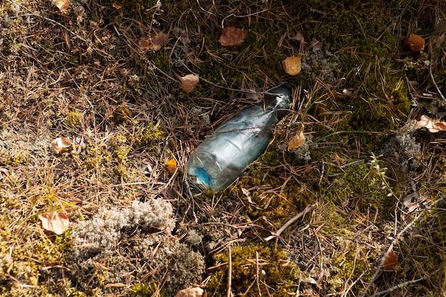 Vecchia bottiglia di plastica usa e getta sul bordo della foresta