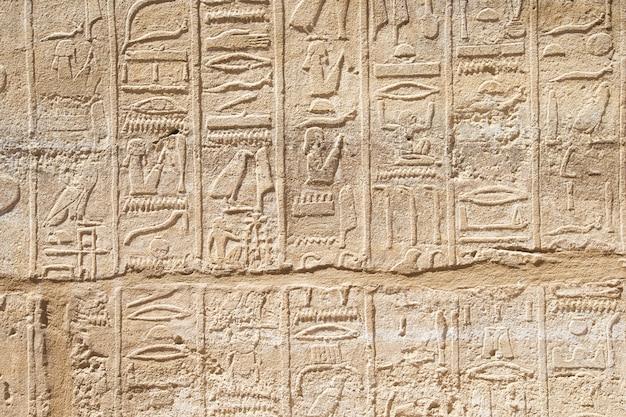 Vecchi geroglifici egiziani scolpiti sulla pietra