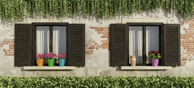 Vecchia facciata con finestre e fiori