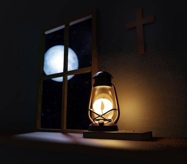 Vecchia lampada a olio stile lanterna a cherosene che brucia nella notte con una luce soffusa nella vecchia chiesa con croce sul muro e luna piena fuori dalla finestra