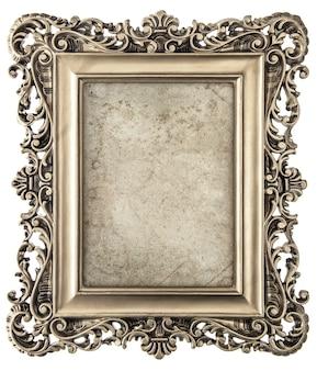 Vecchia cornice d'oro isolata su sfondo bianco con tela per la tua foto, foto, immagine