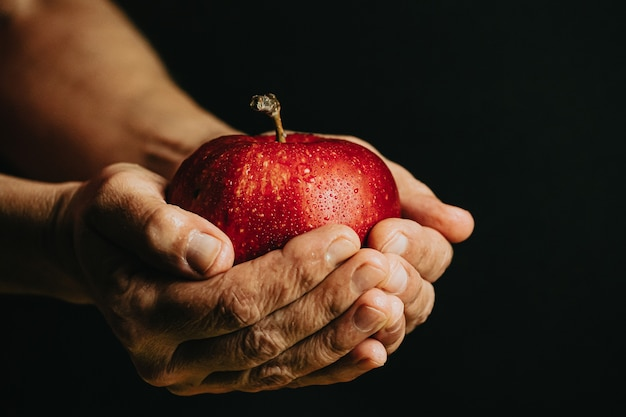 Vecchie mani che afferrano una mela rossa con gocce d'acqua
