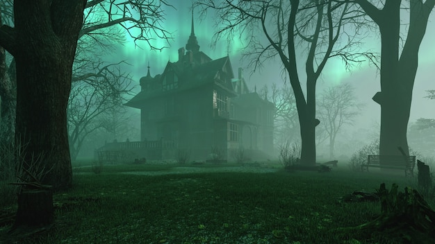 Vecchia villa abbandonata infestata nella foresta notturna inquietante con atmosfera di nebbia fredda 3d rendering