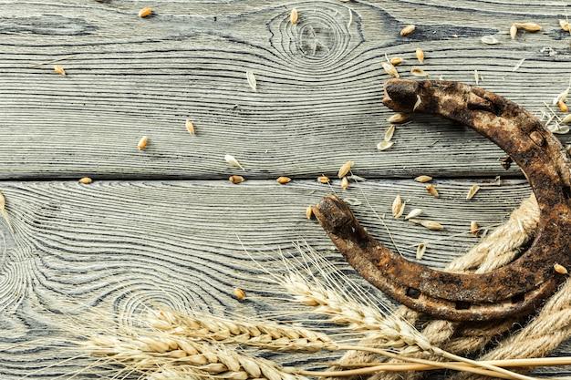 Vecchi ferro di cavallo e corda sui bordi di legno