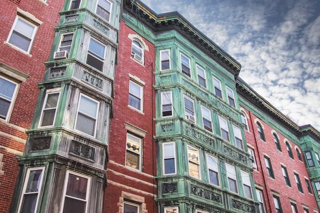 Vecchia facciata della casa in north end, boston