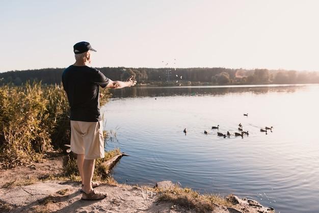 Uomo anziano in protezione che alimenta le anatre sul fiume di estate.