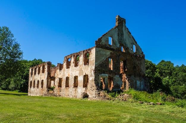 Old manor rovine di mattoni con la foresta in background, repubblica di paulava, lituania.