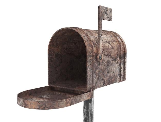 Vecchia cassetta postale in metallo su sfondo bianco