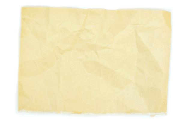 Vecchia carta per appunti isolato su sfondo bianco