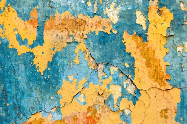 Vecchia parete dipinta - struttura blu e gialla