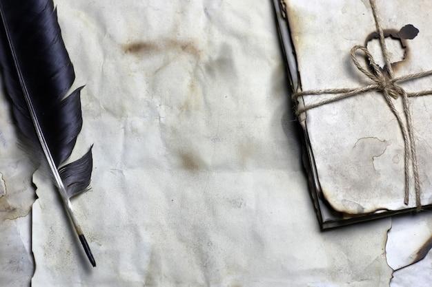 Vecchia piuma di lettera di carta