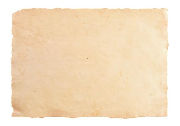 Vecchia struttura di carta pergamena isolata su bianco