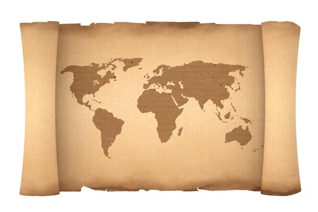 Vecchia pergamena del rotolo di carta con la mappa del mondo su una priorità bassa bianca. rendering 3d