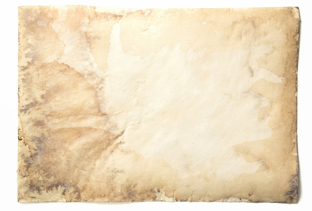 Vecchia carta vintage invecchiato o texture su sfondo bianco