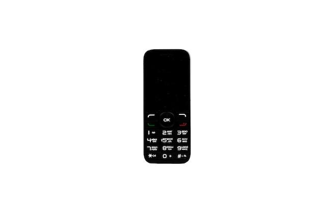 Vecchio telefono su sfondo bianco isolare