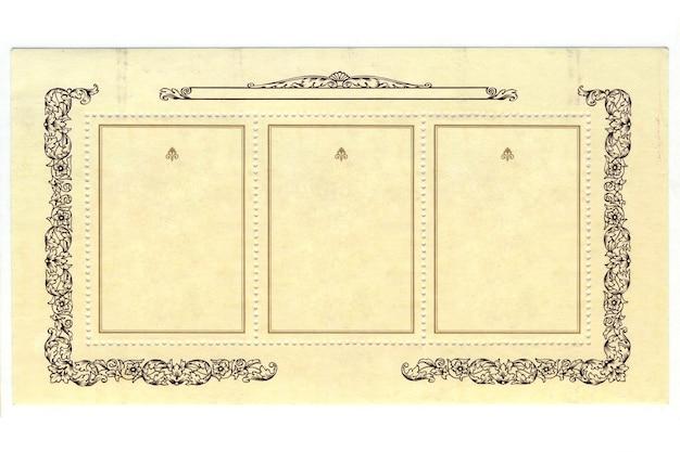 Vecchio francobollo con cornice su sfondo bianco