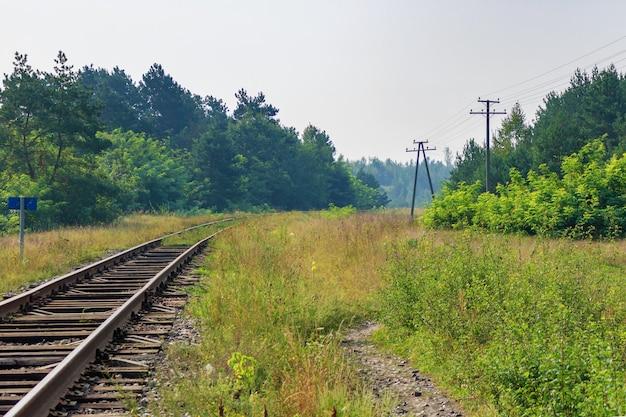 Vecchia ferrovia nel campo contro i cespugli in una mattina d'estate