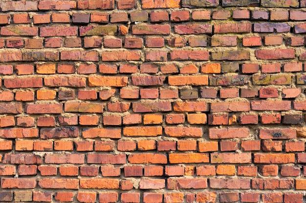 Vecchio muro di mattoni rossi come sfondo, sfondo di mattoni