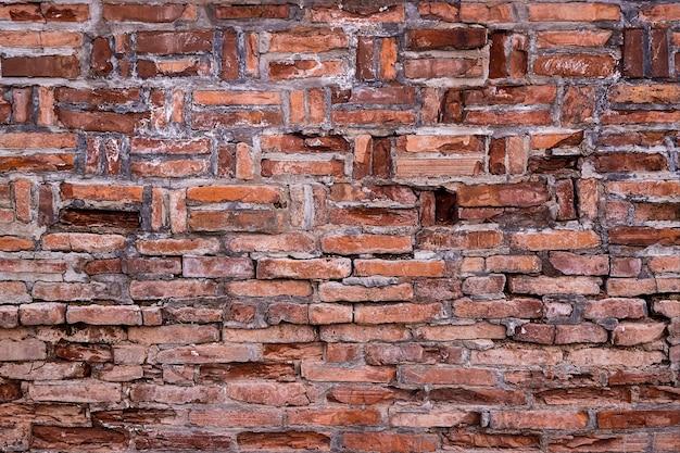 Il vecchio fondo di lerciume di struttura del muro di mattoni rossi, può per l'interior design