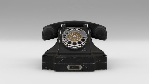 Vecchio telefono retrò, rendering 3d
