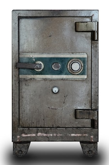 Vecchia cassetta di sicurezza di sicurezza sul muro bianco